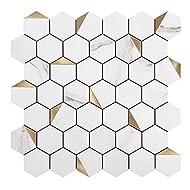 KASARO Backsplash Peel and Stick Mosaic Tile Aluminum Stainless Steel Self Adhesive Tile for Kitchen Wall Bathroom Hexagon (6, Golden)