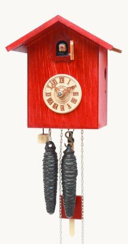 Rombach & Haas Moderne Kuckucksuhr Vogelhaus Kuckuck schlicht rot mit Ziffernblatt 1-Tagwerk 18 cm