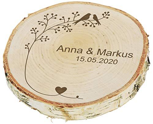 LAUBLUST Baumscheibe Personalisiert zur Hochzeit - ca. 18 cm, Vogelpärchen Motiv | Ringkissen | Hochzeitsgeschenk & Deko
