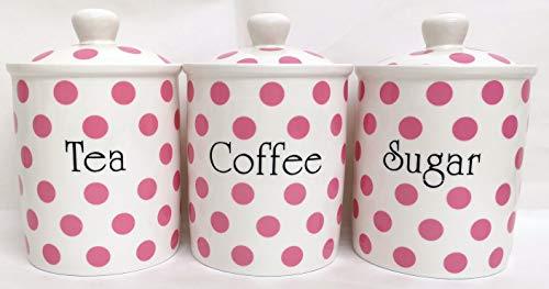 Pink Spots contenitori per tè, caffè, zucchero, porcellana, decorato a mano nel Regno Unito. free UK Delivery