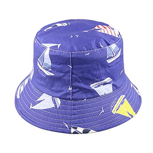QiuFeng Gorra Redonda Gorro Pescador Sombrero Pescador velero Azul Marino Blanco Doble Cara, Sombreros Cubo para Mujeres, Hombres, Bailarina Hip Hop, Gorra Panamá para Viajes al Aire Libre-2