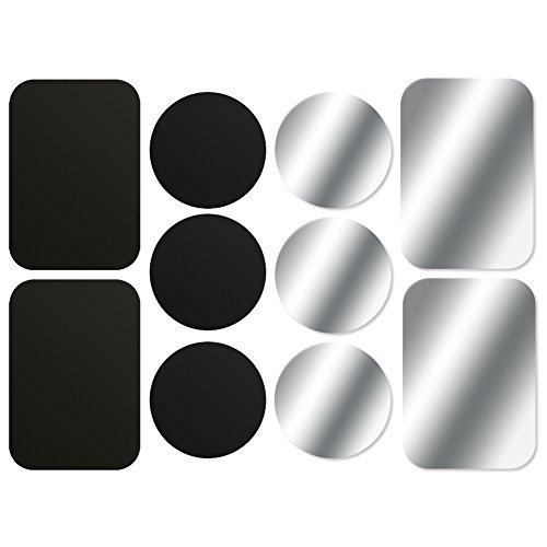 AJOXEL [10 Pièces Plaques Métalliques avec Adhésif 3M (6 Rondes 4 Rectangulaires) pour Support Téléphone Voiture magnétique/Support Voiture Aimanté Universel Metal Plate pour Smartphone - Noir+Argent