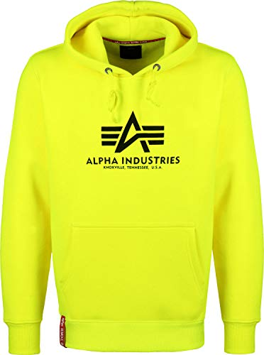 ALPHA INDUSTRIES Kapuzenpullover Basic orange braun rosa gelb schwarz weiß (S, Neon/Yellow)