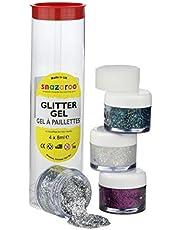 Snazaroo 1112950 kinderschmink-effect, glittergel, gezichtsverf in 4 kleuren, holografische glittermake-up, fuchsia-roze, diamant, veelkleurig, zilver