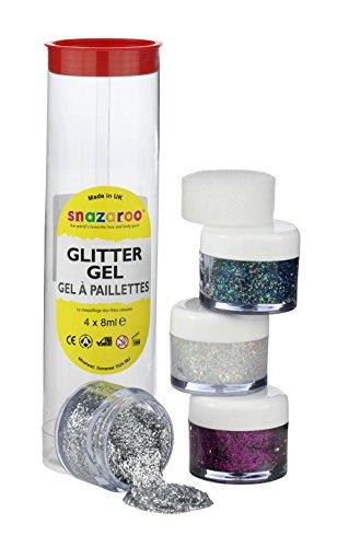 Snazaroo - Gel de maquillaje con purpurina/ brillo (fucsia rosa, polvo de oro, plata y multicolor)
