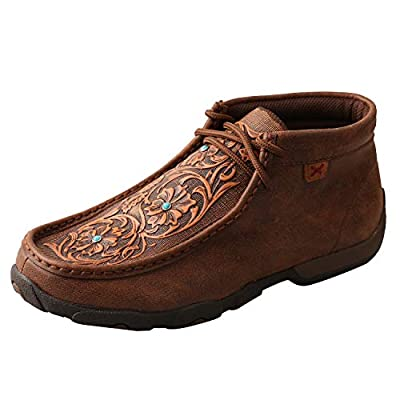 Twisted X Women's Handcrafted Cowgirl Lace-Up Chukka Shoes, Brown/Tooled Flowers, 7-M