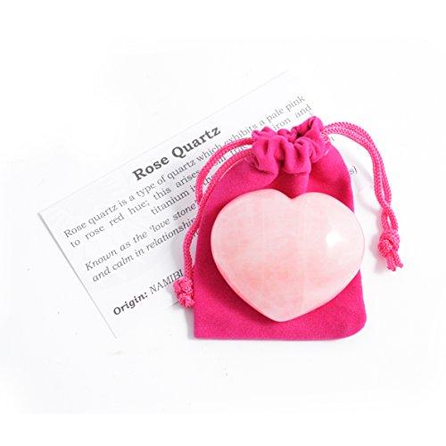 Cuarzo rosa corazón + funda / Amuleto y talisman para atraer el AMOR