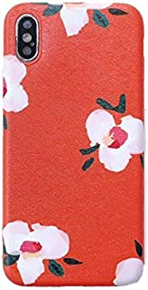 MIEOSEG Cute Orange, Green Flowers Cover para iPhone XS MAX Soft Silicone Moblie Phone Case para iPhone 7 8 6S 6 Plus X XS XR Coque Fundas para iPhone 7 Plus Rosa