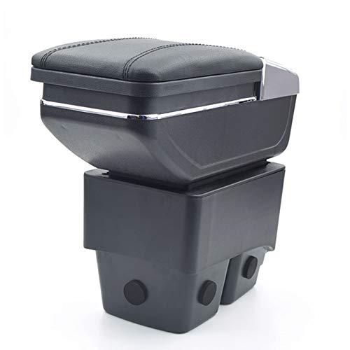 Para Ford Fiesta 3 MK 7 2009-2017 Apoyabrazos Caja de almacenamiento Coches Reposabrazos Central Negro