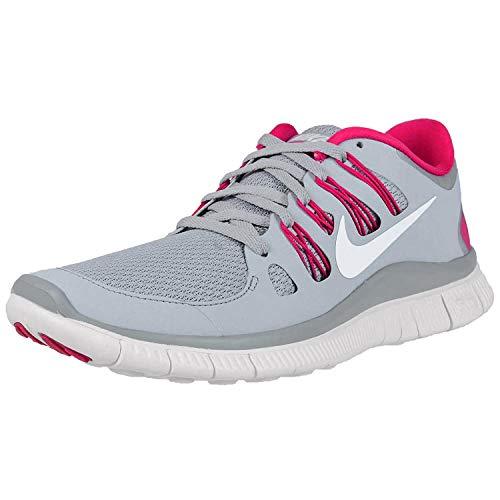 Nike Women's Free 5.0+ W Wolf Grey/Pink Force/White Ankle-High Mesh Running Shoe - 7M