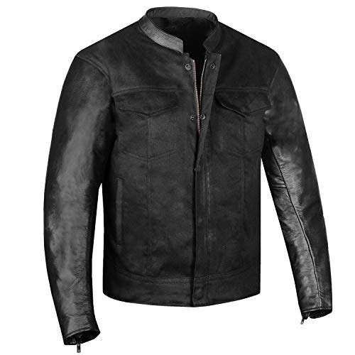 Men's Hybrid Leather & Denim Armor Jacket Motorcycle Club Cruiser Concealed L