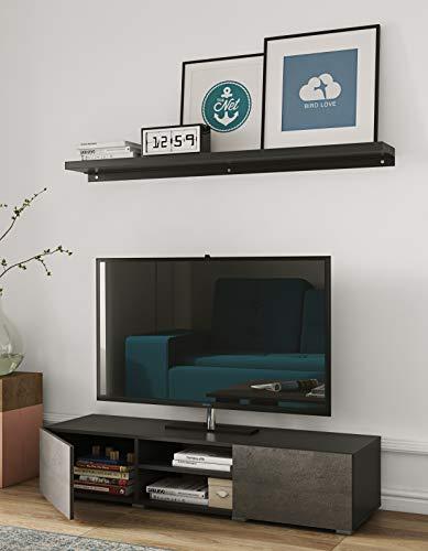 Podium Meuble TV, Panneaux de Particules Mélaminés, Noir et Béton, 140 x 31 x 42 cm