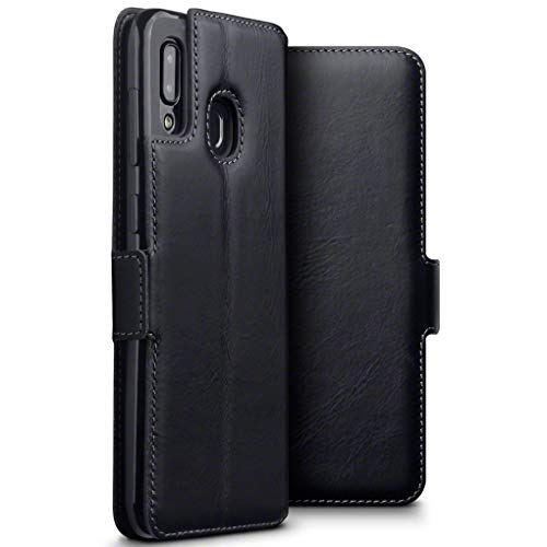 TERRAPIN, Kompatibel mit Samsung Galaxy A30 Hülle, Premium ECHT Spaltleder Flip Handyhülle Samsung Galaxy A30 Hülle Tasche Schutzhülle, Schwarz