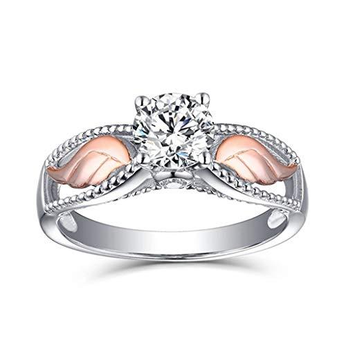 WEILYDF Angel Wings Ring Stylish Graceful Rhinestone Ring Sparkling Women Wedding Ring for Bride Girlfriend Jewelry