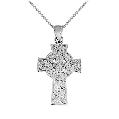 Solid 14k White Gold Irish Celtic Cross Trinity Pendant Necklace, 20'