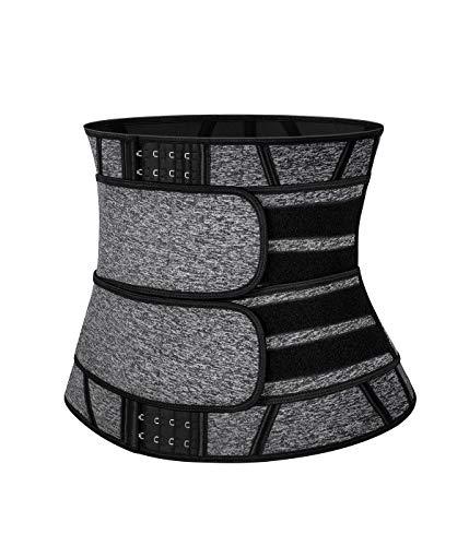 SLIMBELLE Cinturón reductor de cintura para sudoración, neopreno, cinturón deporte, moldeador cintura, corsé fitness, hombre y mujer Gray-hook XL