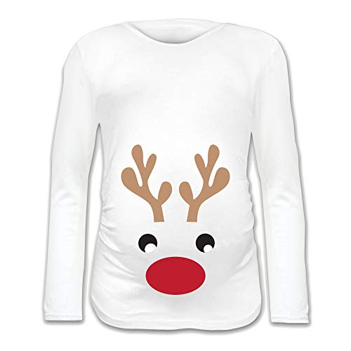 Babloo T Shirt Natale Maglia Premaman Natalizia Renna Bianca S Manica Lunga
