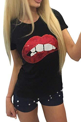 Camisetas De Mujer Rojo Lentejuelas Labios Manga Corta Suéters Camiseta Negro XL