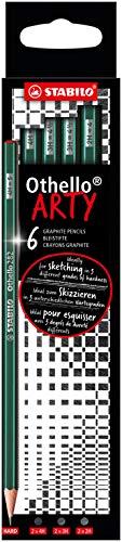 Lápiz de grafito STABILO EO282/6-21-3-20 Othello ARTY – Caja con 6 lápices de durezas mixtas (2B, B, HB, F, H, 2H))