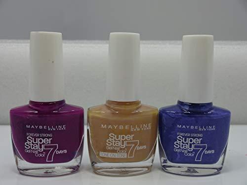 Maybelline SuperStay 7 Days Lot de 3 vernis à ongles en gel Teinte 230 Berry Stain, 875 Second Skin, 645 Viva Blue Violet
