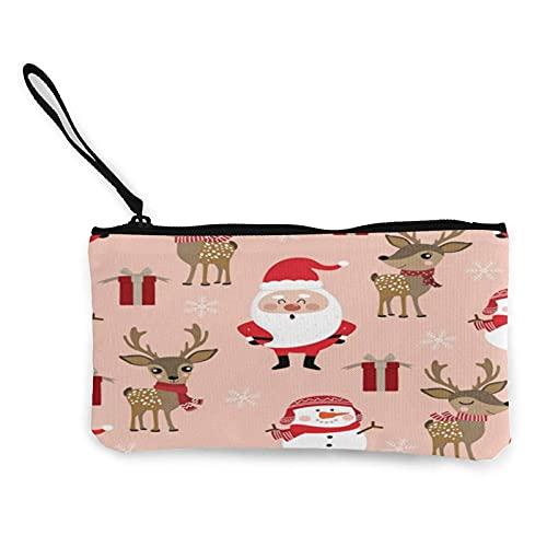 Monedero clásico con asa de lona Kawaii Santa Reno de Navidad, bolsa de maquillaje, bolsa de teléfono móvil