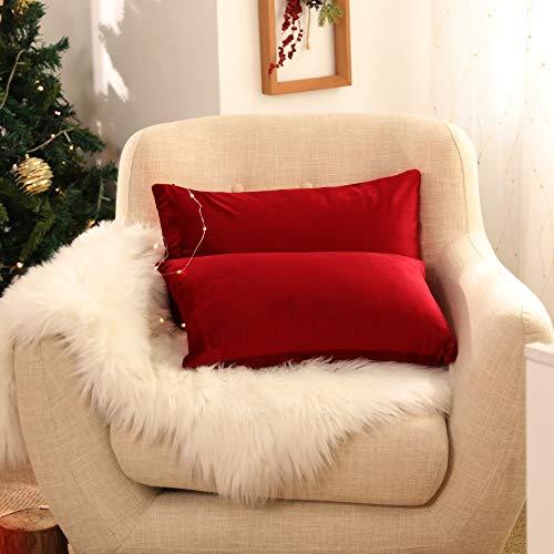 Deconovo Set di 2 Fodera Cuscino Divano con Cerniera Invisibile per Casa in Velluto 30x50cm Rosso Scuro