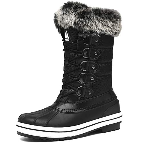Womens Mid Calf Snow Boots Waterproof Winter Boot Cold Weather Fur Lined Non Slip Insulated Boot Hiking Walking Slip Resistant Black 10