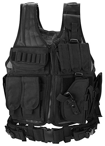 ProCase Airsoft Tactical Vest voor mannen, Amy Vest Military Assault Vest, voor Paintball Hunting Shat Swat CS Game Combat Training, met Magazine Pouch Pistol Holster –Zwart