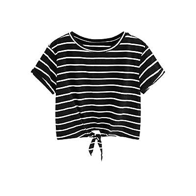 Women's Knot Front Cuffed Sleeve Striped Crop Top Tee T-Shirt