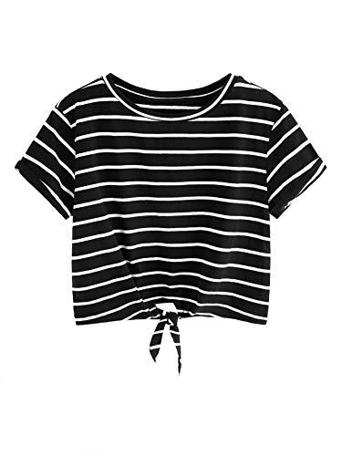 Romwe Women's Knot Front Cuffed Sleeve Striped Crop Top Tee T-Shirt