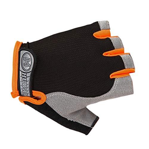 QIMANZI Fitness Handschuhe Vollfinger Fahrradhandschuhe mit Safe Geleinlage Palm für Road Race Mountainbike Reiten Rennrad Wandern Bergsteigen Damen Herren(A Orange,L)