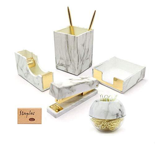 Marble Gold Desk Accessories Organizer Set Tape Dispenser Stapler for Desk Magnetic Paper Clips Dispenser Sticky Notes Holder Pencil Pen Holder Office Supplies Organization (Marble White Texture)