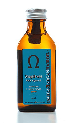 Pure Argan Oil Dry Curled or Straight Hair Argan Oil Heat Protectan, Repair Damaged Hair Made in Israel 100% Pure and Organic 100ml 3.4fl.oz Highest Quality