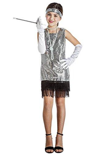 Disfraz de Charlestón Plata con flecos para niña