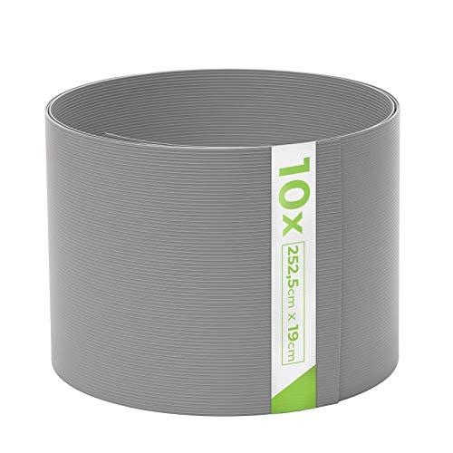 TerraUno - Premium Hart PVC Sichtschutzstreifen für Doppelstabmatten - 10 Stück für Gartenzaun I 2,525mx19cm I Grau I Sichtschutz für den Zaun