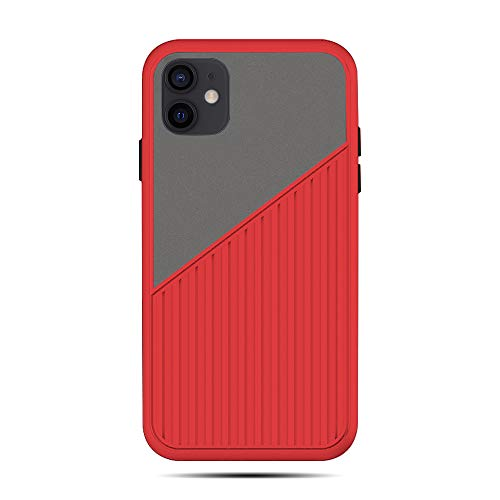 Rdyi6ba8 Case for iPhone 12, Hybrid Translucent Matte Hard PC and Suitcase Style Striped Soft TPU Silicone Shockproof Non Slip Phone Case for iPhone 12 (Red)