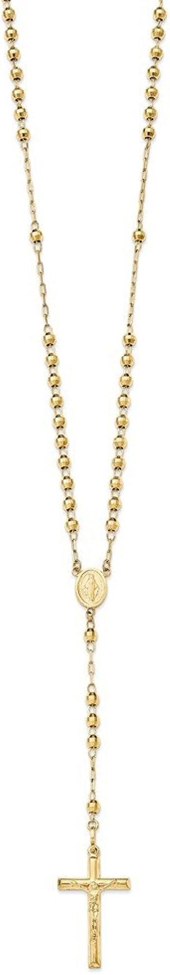 Diamond2deal, collana per donna in oro giallo 14k(585)(13,13 gr) con pendente crocifisso SF2066-24