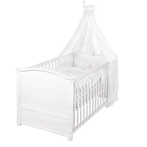 roba Lit bébé avec textiles 'Fox & Bunny', lit bébé laqué en blanc; avec linge de lit, ciel de lit, tour de lit et matelas, lit bébé 70x140cm, transformable en lit junior.