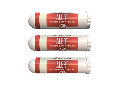 mEssentials 3 Pack of Alert Aromatherapy Nasal Inhalers Made with 100% natural, therapeutic grade essential oils to help keep you awake and energized, natural alternative to caffeine or medication