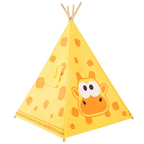 HWH Indian Tent Teepee for Child, Lightweight Play Tent with Solid Wood Stand Owl - Zebra - Giraffe Playhouse for Kids Game house ( Color : Yellow , Size : 120*120*140CM )
