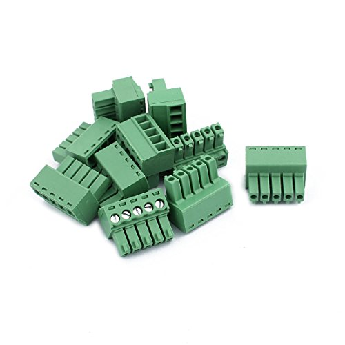 uxcell 10Pcs 300V KF2EDGK 3.5mm Pitch 5-Pin PCB Screw Terminal Block Connector
