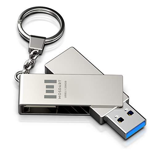 MOSDART 256GB 300Mb/s USB 3.1 Flash Drive Fast Speed and Rugged Metal Thumb Drive with Keychain USB3.1 256 GB 360-degree Jump Drive for Data Storage - Silver