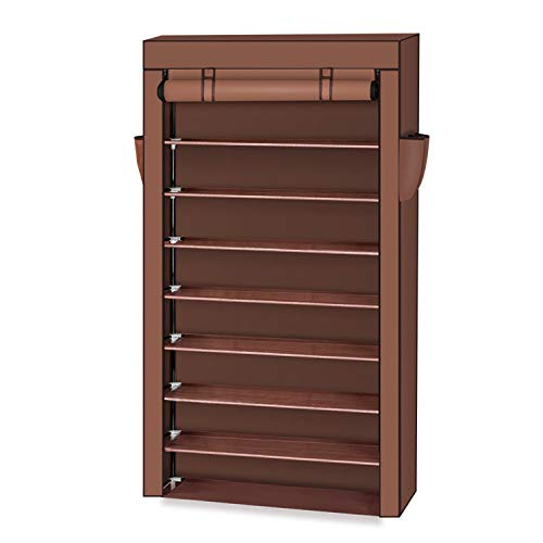OTU 10 Tiers Shoe Rack with Dustproof Cover Closet Shoe Storage Cabinet Organizer Mocha Organizers...