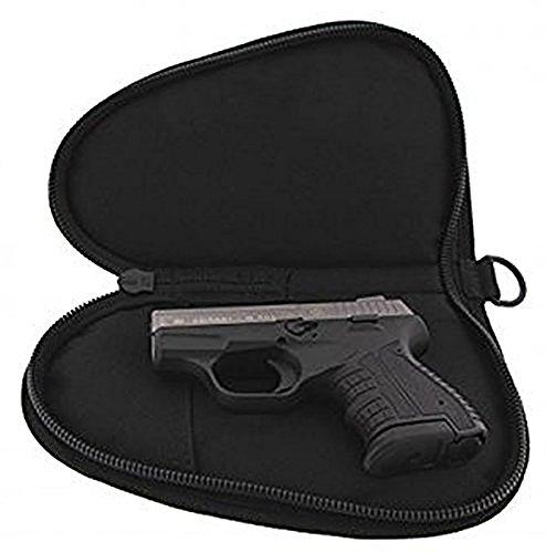 Pistolentasche: gepolstert, mit Abschließvorrichtung, Tragegriff und Extratasche - in 3 Größen (schwarz) (Klein)