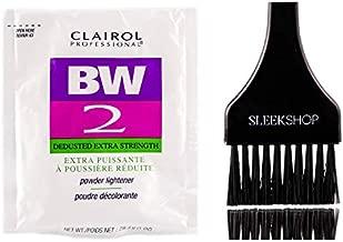 Clairol BW2 Basic White Powder Lightener BW2 Extra Strength, Dedusted (w/Sleek Tint Brush) BW 2 Hair Lightening, Bleaching, Blonding, Bleach (1.0 oz PACKETTE (BW2 Formula))