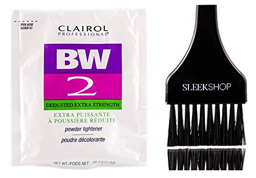 Clairol BW2 Basic White Powder Lightener BW2 Extra Strength, Dedusted (w/Sleek Tint Brush) BW 2 Hair Lightening, Bleaching, Blonding, Bleach (1.0 oz PACKETTE (BW2 Formula))