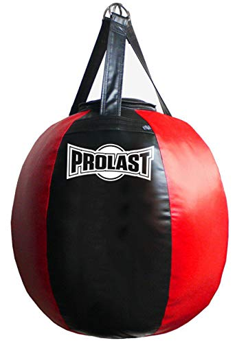 PROLAST Wrecking Ball Heavy Bag Body Snatcher Professional Boxing Training Muay Thai MMA Specialty Punching Bag (Filled) (Red and Black)
