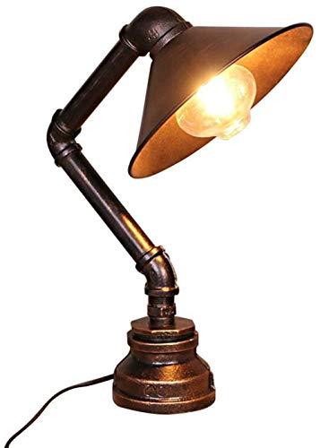 Wodtree Wasserrohr-Schreibtisch-Lampe Industrie Retro Rost Eisen Tischleuchte Antike Steampunk Lampshade for Schlafzimmer Nachtleseraum Resturant Schreibtischlampen
