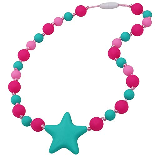 Sensory Chew Necklace for Girls, Kids - Silicone Teething Necklace for Autistic, Autism, ADHD - Starlight Chewy Oral Motor Chewing Beads Jewelry for Teething, Biting