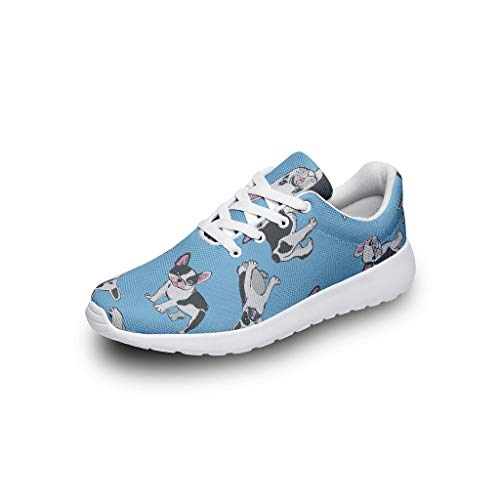 AXGM - Zapatillas de Deporte para Hombre y Mujer, diseño de Bulldog francés, Ligeras, Azules, para Correr, Caminar, Talla 35 – 47, Color, Talla 43 EU